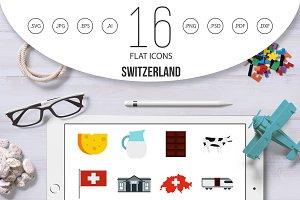 Switzerland icons set, flat style