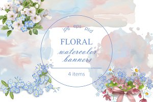 Floral Watercolor Banners