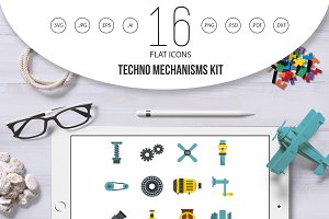 Techno mechanisms kit icons set