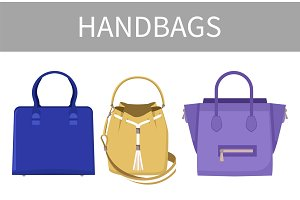 Set of Varied Handbags Color Vector