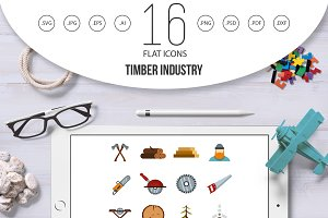 Timber industry icons set, flat