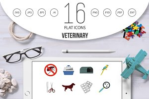Veterinary icons set, flat style
