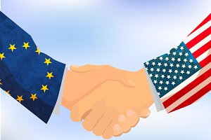 USA and European Union handshake