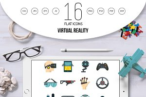 Virtual reality icons set in flat