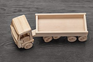 Toy wooden truck.