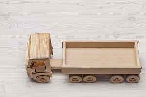 Truck, wooden toy handmade.