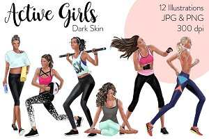 Active Girls - Dark Skin Clipart