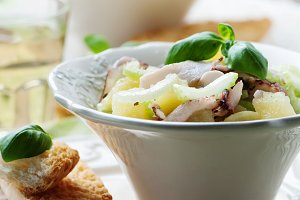 Healthy salad with octopus, celery a
