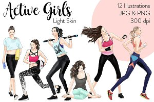 Active Girls - Light Skin Clipart
