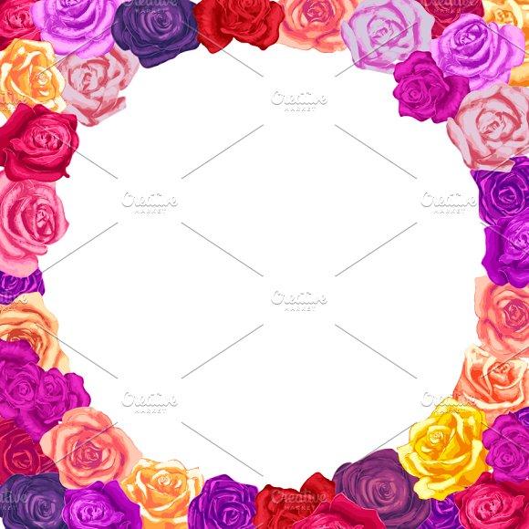 Roses round frame on white ~ Illustrations ~ Creative Market