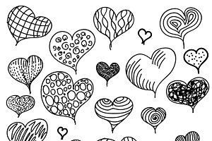 Hand-drawn hearts icons on white