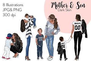 Mother & Son - Dark Skin Clipart