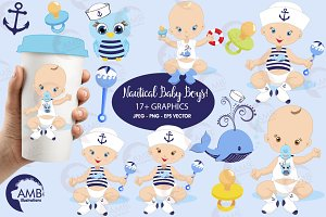 Nautical Baby Boy Clipart, AMB-912