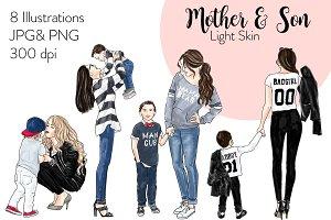Mother & Son - Light Skin Clipart