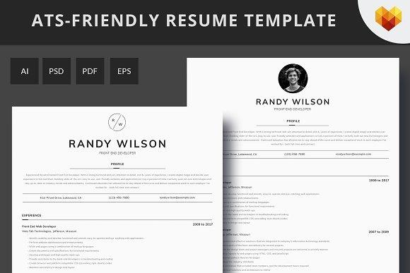 ats friendly resume for developer resume templates creative market