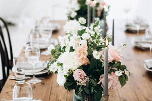 Rustic wedding table setting.