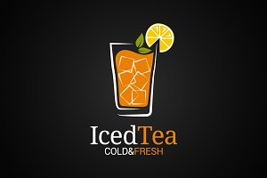 Ice tea glass logo.