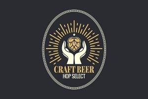 Beer hop in hands vintage logo.