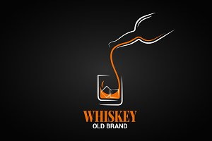 Whiskey glass and bottle logo.