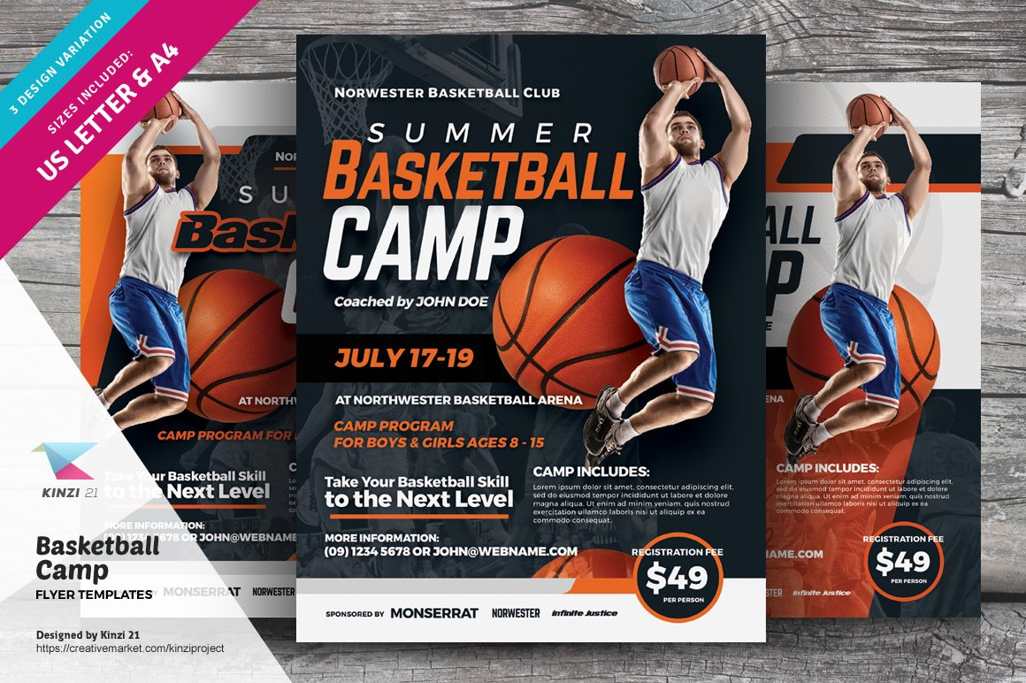 Perfect basketball camp template composition for Basketball camp brochure template