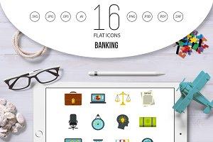 Banking icons set, flat style