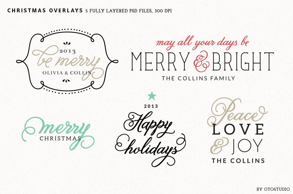 digital christmas overlays set 2 graphic objects creative market - Christmas Overlays