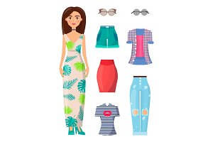 Woman and Summer Mode Set Vector