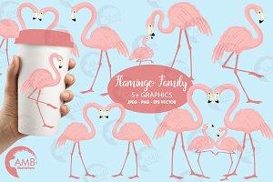 Flamingos Clipart, AMB-1037