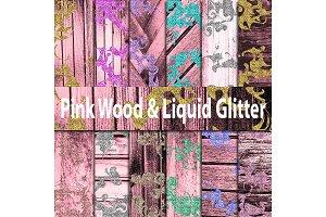 Pink Wood & Liquid Glitter Paper