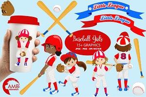 Girl Baseball Clipart, AMB-1224