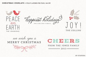 Digital Christmas Overlays - Set 1