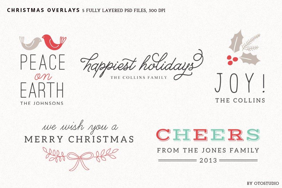 digital christmas overlays set 1 graphic objects creative market - Christmas Overlays