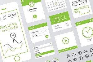 Green & White Flat Mobile Web UI Kit