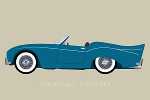 blue cabriolet american car