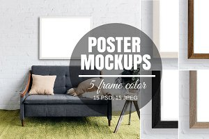 Poster Mockup Set - 5 Color Frames