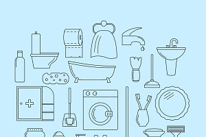 Set of line icons. Bathroom theme