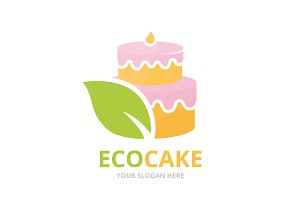 Vector cake and leaf logo