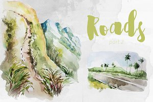 Watercolor Roads Part 2 Clipart