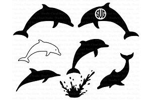 Dolphins SVG, Dolphin Monogram SVG.