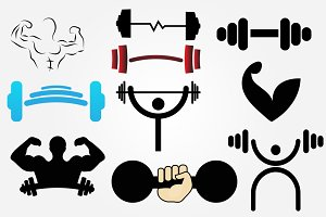 10 Body Fitness Gym Logo Png Pack