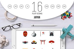 Japan icons set, flat style