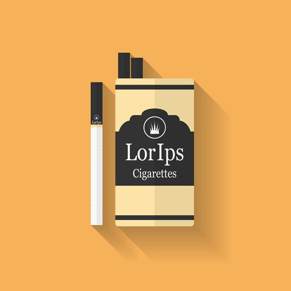 Icon of cigarette pack. Flat style - Icons