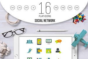 Social network icons set, flat style