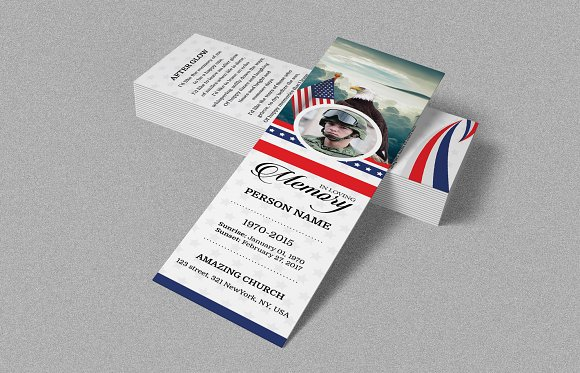 funeral bookmark for army military invitation templates creative