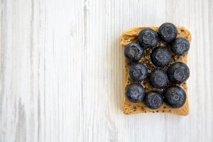 Toast with peanut butter, blueberrie