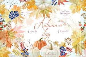 Watercolor clipart Autumn day