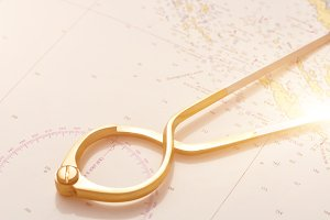 Pair of compasses for navigation on