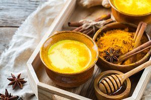 Traditional indian drink turmeric cu