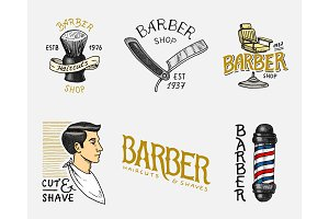 Set of barbershop badge and label