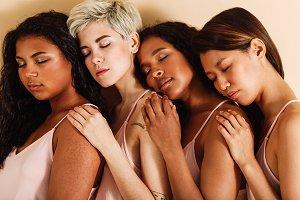 Group of diverse women in studio